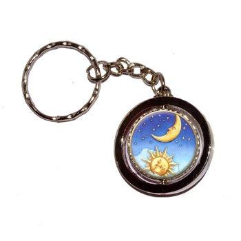 (Celestial Sun Moon Stars Round Spinning Keychain)