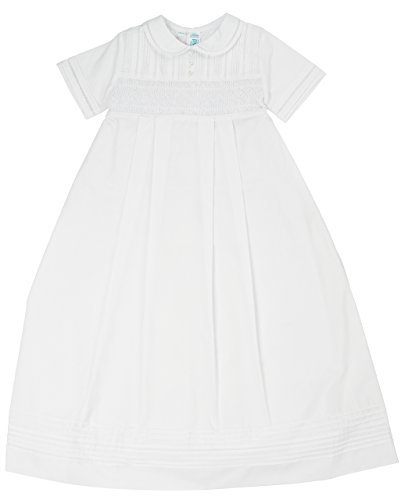 Feltman Brothers Boys Christening Baptism Smocked Gown & Hat Set (NB-3m) White