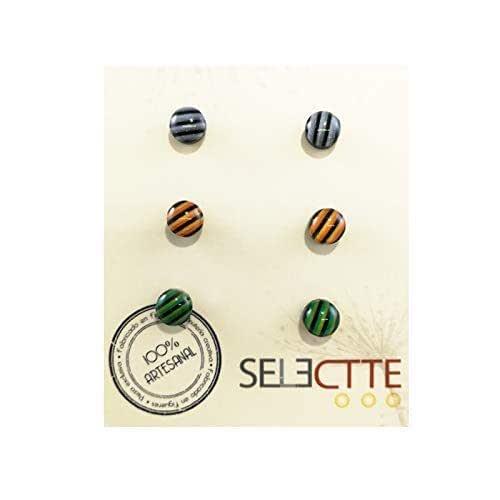 Pack pendientes pequeños antialergicos diseño rayas, gris, naranja ...