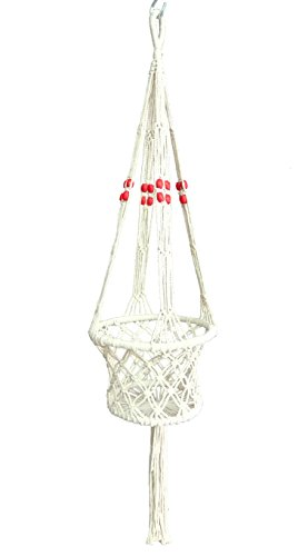 4 Legs Macrame Cotton Plant Hanger &Holders with Bamboo Ring Inside with Wood Bead Decoration .Nautral Beige Color, 36-inches Length (Without The Pot and Plant) (Wht Basket Hang)