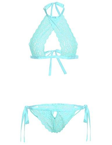 Avidlove Women Lingerie Sets Lace Bralette Set Halter Teddy 2 Piece Bodysuit Green L