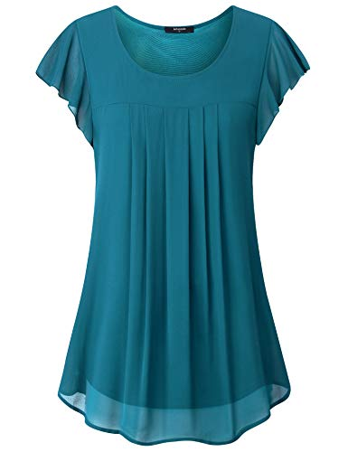 Lotusmile Womens Plus Size Tops,Ladies Casual Lightweight Two Layered Chiffon Blouses Elegant Ruffle Short Sleeve Basic Simple Round Neck A Line Runched Tops Flowy Pleated Tunic T Shirts,Dark Cyan XXL