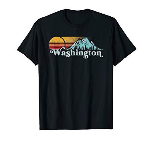 (Vintage Washington State Retro Distressed Mountains T-Shirt)