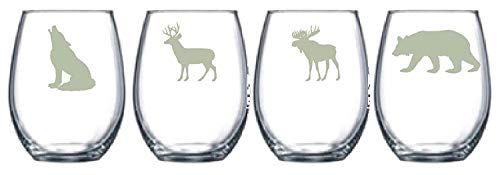 Wildlife Choice of Pilsner, Beer Mug, Pub, Wine Glass, Rocks, 1 each of a Moose, Bear, Wolf, Deer Etched