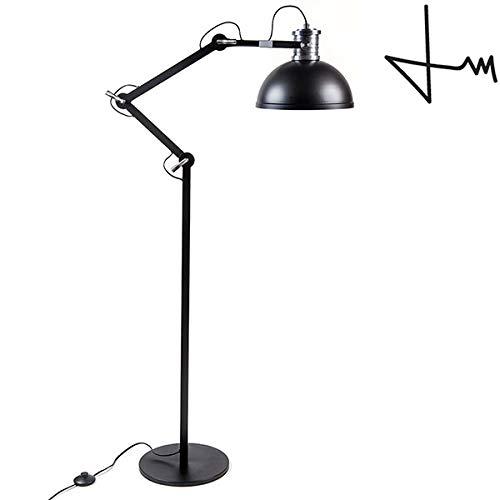 (Brooklyn Series Industrial Style Designer 76 Inch Adjustable Floor Lamp - Designed by Thomas Mark (Black, Floor Lamp))