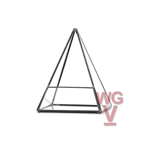 Geometric Glass Terrarium, Pentahedron Pyramid Shape, Black Frame - Width: 5.5
