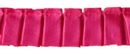 Satin Hot Pink Box Pleated Satin Ribbon,7/8 inch Wide Price per Yard ndKE -353 ()