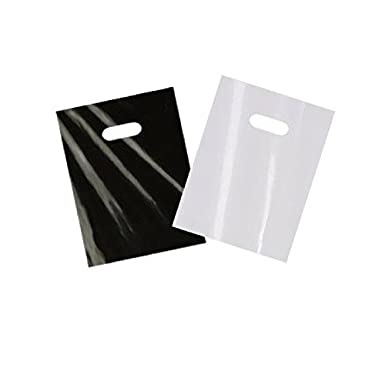 "200 small glossy black & white plastic merchandise bags w/die cut handles 9x12"", retail shopping bags perfect for small shops & stores, trade shows, garage sales & events"