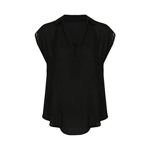 Style Taille Schwarz Grande Large Cou Et Shirt Blouse Dcontract sans Elgante Chemise Couleur Debardeur V Et Branch Spcial Manches Unie Femme Tops q1gxw6f1z