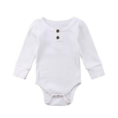 Emmababy Newbown Baby Boys Girls Knitted Sweather Rompers Sleepwear Long Sleeves Pajamas Fall Winter Bodysuit White (Long Infant Sleeve Ribbed Boys)