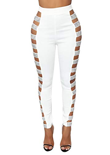 Cosygal Women's Side Hollow Out Sequin Leggings Pants Bling Tights Long Trousers White Medium