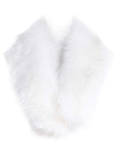 Soul Young Faux Fur Collar Women's Neck Warmer Scarf Wrap,White With Tips,One Size