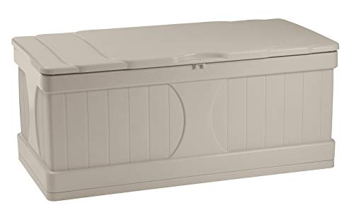Suncast 99 Gallon Patio Storage Box - Water Resistant Outdoor Storage Container for Patio Furniture, Pools Toys, Yard Tools - Store Items on Deck, Porch, Backyard - Taupe (Day Furniture Sale Boxing)