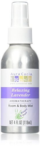 Aura Cacia Relaxing Lavender Aromatherapy Room & Body Mist 4 Oz Food, Silver, 4 Fl Oz