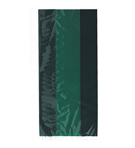 Mozlly Multipack - Unique Forest Green Cellophane Treat Bags - 11 x 5 inch - Goody Bags, Trick or Treat, Halloween, Party Favors - Party Supplies and Decorations (30pc Set) (Pack of 3) -