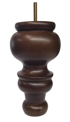 Elegent Upholstery 7'' Turned Round Tapered Furniture Wood Legs 5/16'' Bolt - Set of 4 by Elegent Upholstery (Image #1)