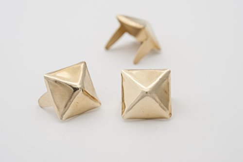 - Pyramid Studs - Size 10 - Ideally used for Denim and Leather Work - Classic Two-Prong Studs - Brass Colored - Pack of 500 studs and spikes