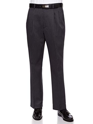 RGM Mens Dress Pants, Formal and Work Slacks for Men - Pleated Front Cuffed Hem Charcoal 44 Short