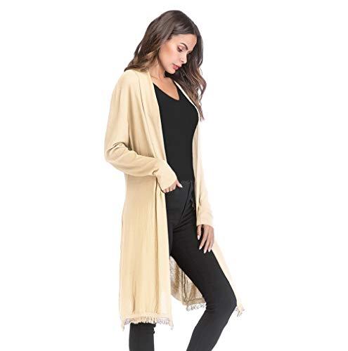 Retro Clearance Cardigan TUDUZ Sleeve Autumn Knit Long Gradient Coat Beige Solid Tassel Jacket Slim fit Women's 00Tqwx8r