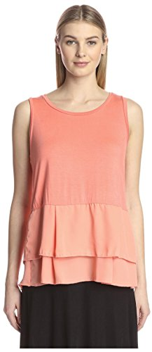 S.H.E. Soul Harmony Energy Women's Jersey Tank with Double Ruffle Hem Bottom, Coral, M