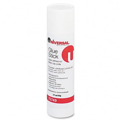 Universal Products - Universal - Permanent Glue Stick, .28 oz, Stick, 12/Pack - Sold As 1 Pack - Washable and acid-free for use on paper, cardboard, photos, fabric. - Glue dries clear, wrinkle-free. - Ideal for archival materials. - Disappearing Color Glue Stick