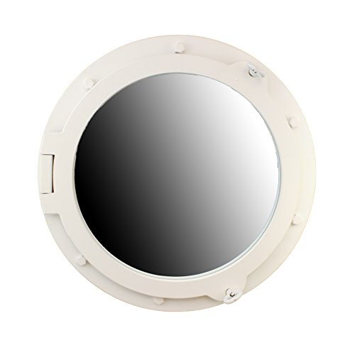Nautical Tropical Imports 24'' H Wooden White Wall Mount Porthole Mirror by Nautical Tropical Imports