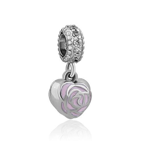 1 Calvas 1pc Silver Pink Flower Hanging Bead Charm Fits European Charm Bracelets /& Necklaces B055