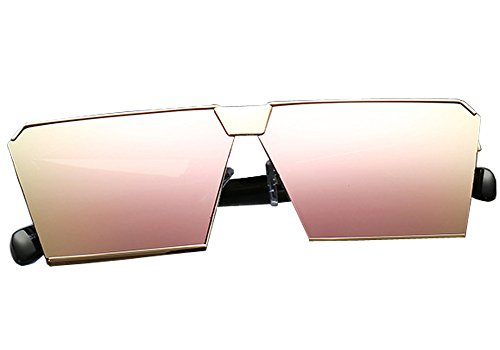 Square Oversized Fashion Sunglasses for Women Light Rose Pink Tint Mirror - Glasses Tint On