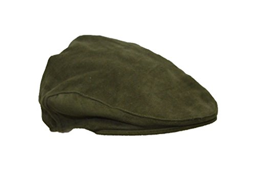 Walker & Hawkes - Uni-Sex Moleskin Flat Cap Country Waterproof Hat - Olive - L (59CM)