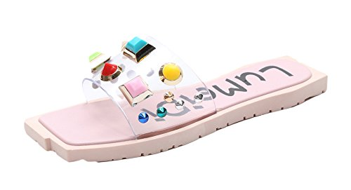 Auspicious beginning Women Trendy Candy Color Flip Flops Outdoor Slippers Pink LSgUdo