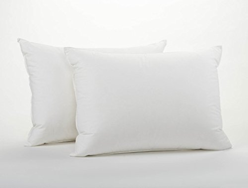 (100% Cotton Cover Highest Quality, Feather & Down Pillow, Best use for Decorative Pillows & for Firm Sleepers, Dust Mite Resistant (not polyester filled) Size 12x20 Set of 2)