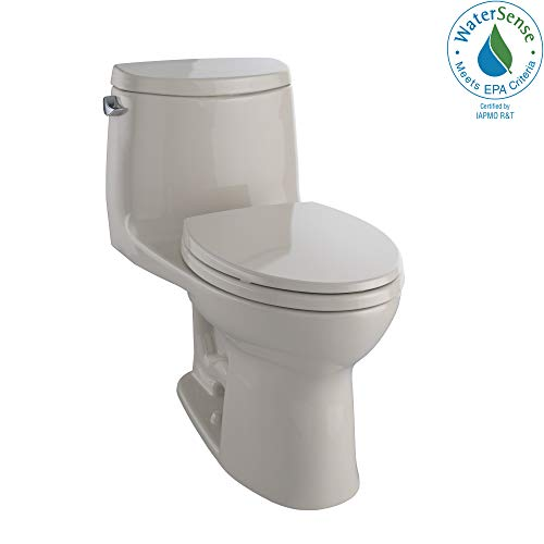 (TOTO MS604114CEFG#03 UltraMax II One-Piece Elongated 1.28 GPF Universal Height Toilet with CEFIONTECT, Bone)