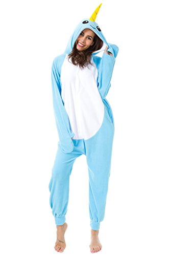 Foresightrade Adults and Children Animal Narwahl Cosplay Costume Pajamas Onesies Sleepwear (S Fit for Height 148-158CM, Narwhal Light Blue) -