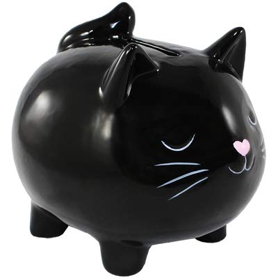 World Buyers Ceramic Kitty Cat Coin Bank, Keepsake, Savings, Piggy Bank 3.625 x 4.25 x 3.75 H (Black)