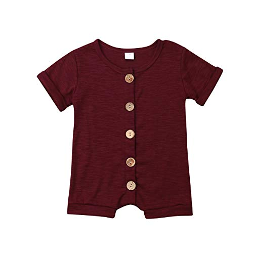 (Newborn Kids Baby Boys Cute Solid Color Long Sleeve Hooded Romper Jumpsuit Top Outfits Clothes (12-18 Months, Wine)