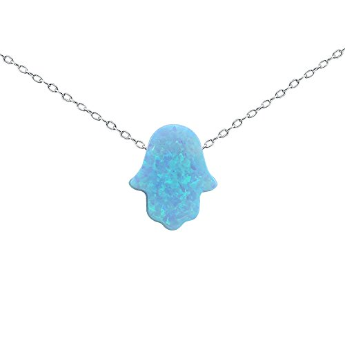 Fire Opal Hamsa Pendant Necklace 925 Sterling Silver Chain Necklace for Girls Children Multicolor Choice (Sky (Sterling Silver Hamsa Necklace)