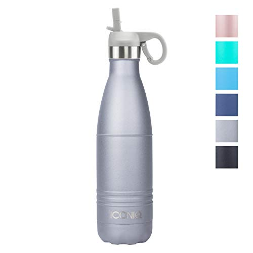(ICONIQ Stainless Steel Vacuum Insulated Water Bottle with Pop Up Straw Cap, 17 Ounce (Shadow Gray) )