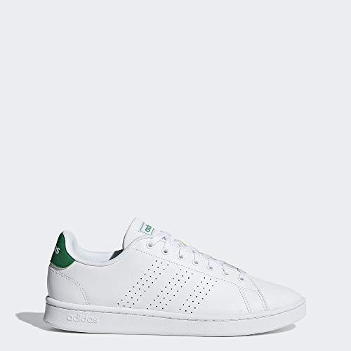 adidas Men's Advantage Tennis Shoe, White/White/Green, 8 M US