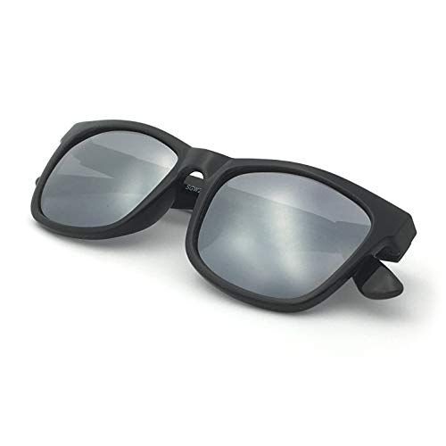 J+S Mission Mark II Rectangle Sunglasses, Polarized, 100% UV protection, Spring Hinged (Black Frame/Silver Mirror Lens) ()