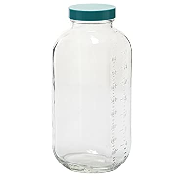 Vestil BTL-SG-G-32 Glass Square Graduated Bottle with Green Cap, 32 oz Capacity, Clear