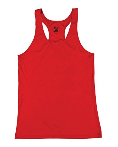Red Girls Medium B-Core Moisture Wicking Racerback Tank Sports Top by Badger Sport