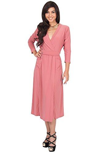 KOH KOH 3/4 Sleeve V-Neck Wrap Knee Length Semi Formal Long Midi Dresses