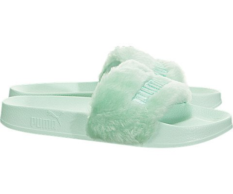 PUMA Women's Fenty x Faux Fur Slides, Bay Silver, 5.5 B(M) US