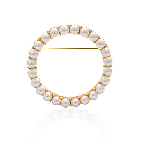 - YYBONNIE Women's Elegant Cubic Zirconia Pearl Gold Open Ring Circle Wreath Brooch Pin Cardigan Scarf Lapel Pin Party Wedding Jewelry (Gold 45MM Pearl Ring)