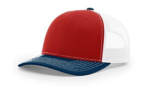 Richardson 112 Mesh Back Trucker Cap Snapback Hat, Red/Navy/White