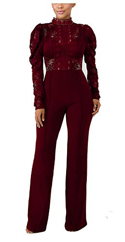 PrettySoul Women's Sexy Long Sleeve Floral Lace See Through High Waist Wide Leg Long Pants Palazzo Jumpsuit Rompers Ladies Outfits Clubwear Wine Red, Large
