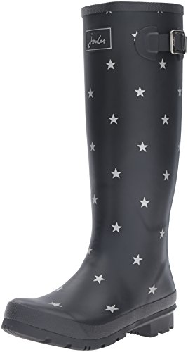 Joules Women's Wellyprint Rain Boot, Black Star, 9 M US