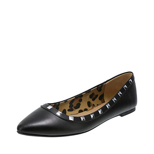 Christian Siriano for Payless Studded Black Smooth Women's Gigi Point Flat 6.5 Regular