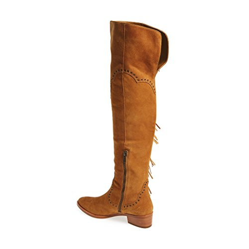 Women Suede Knee Heel Shoes Camel Tassel The Low YDN Boots Comfortable Fringe Over Winter pgaxd