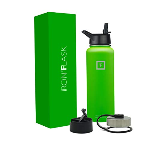(Iron Flask Sports Water Bottle - 40 Oz, 3 Lids, Vacuum Insulated Stainless Steel, Hot Cold, Wide, Double Walled, Hydro Metal Canteen)